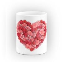 """Чаша """"Сърце от рози"""" - подарък за Свети Валентин"""